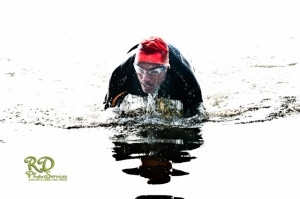Finishing the swim